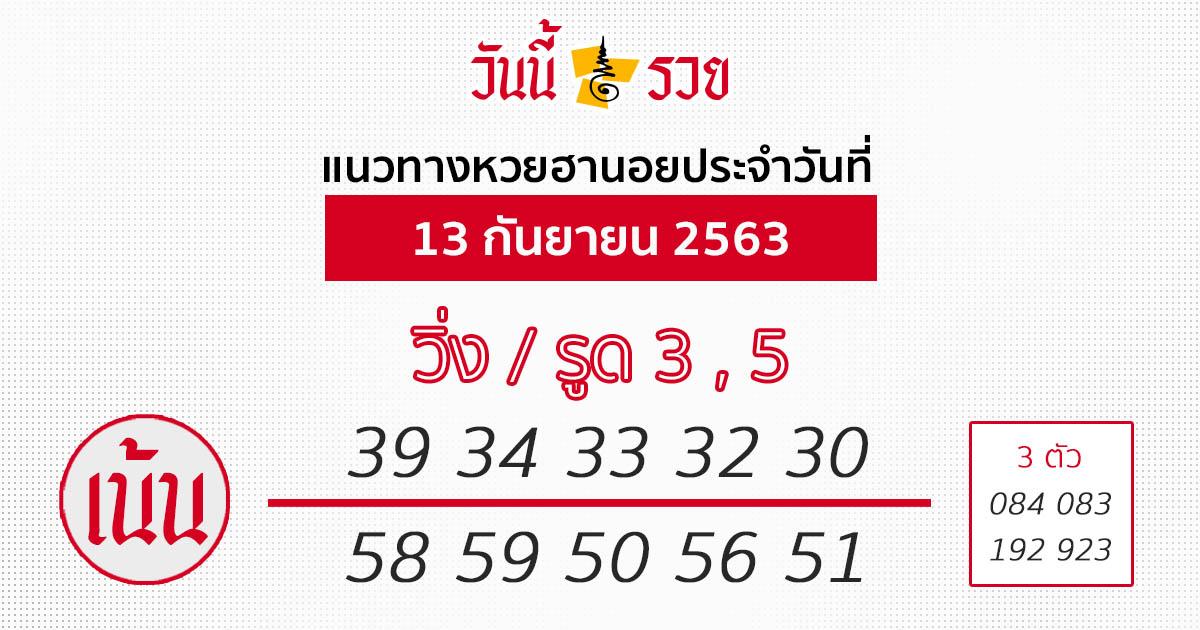 หวยฮานอย 13/9/63